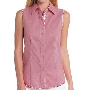 Foxcroft Red Gingham Print Sleeveless Collared Top
